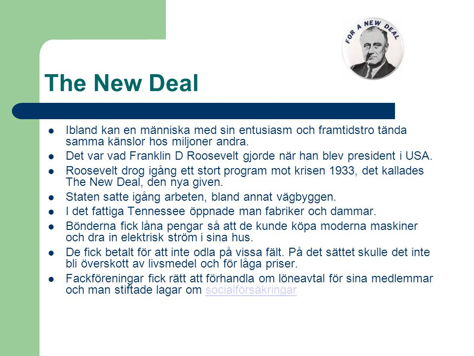 The New Deal …..