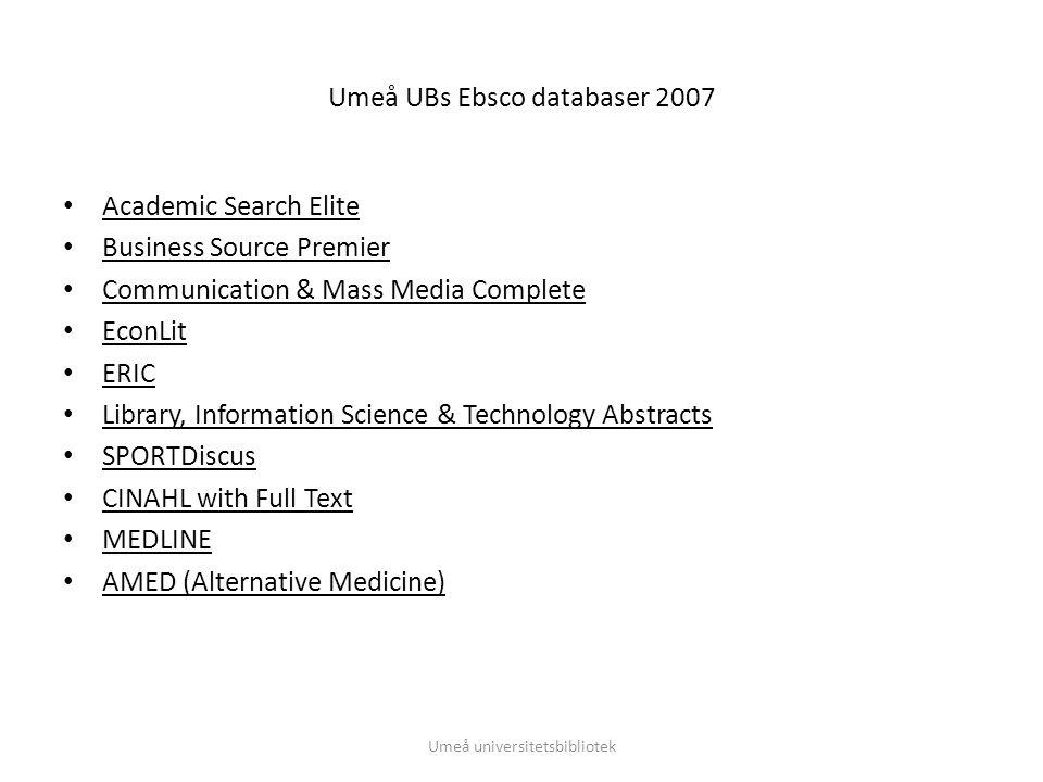 Användning av SFX Ebscos databaser, användning Umeå universitetsbibliotek