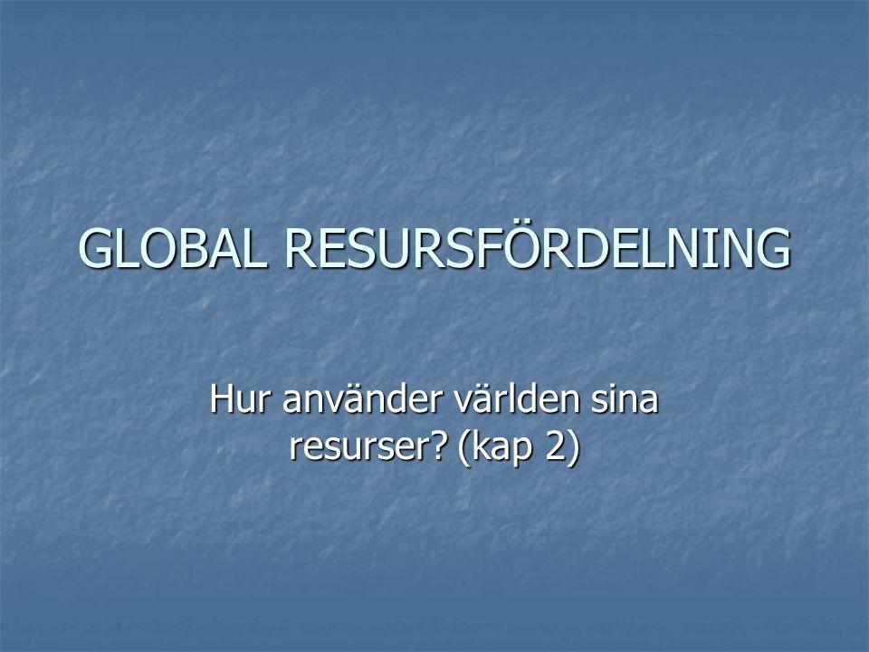 Kunskapsmål: Eleven skall  Ha kunskap om den globala resursfördelningen  Kunna förklara den internationella handelns utveckling  Ha kunskap om faktorer som påverkar den internationella handelns omfattning och struktur  Kunna se samband mellan produktionskostnader i olika delar av världen och företagens lokalisering och internationella handel