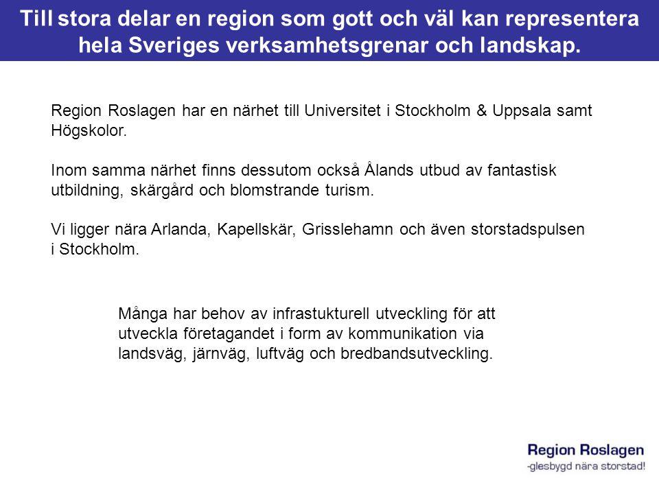 Kommunerna 2010 KommunBefolkning Danderyd31 100 Täby63 500 Vaxholm12 000 Vallentuna35 000 Österåker44 500 Norrtälje65 500 Östhammar33 000 Summa284 600 Källa: SCB