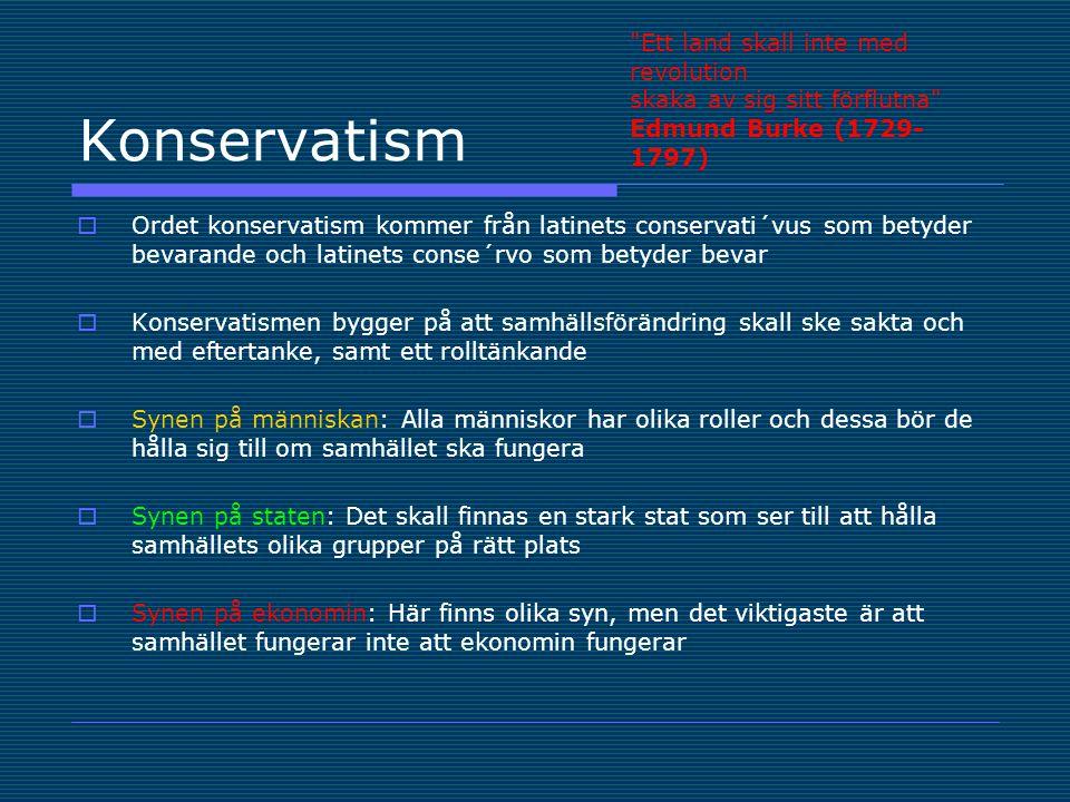 Konservatism  Vid varje förändring av ett samhälle måste man ta hänsyn till landets förflutna och dess traditioner.