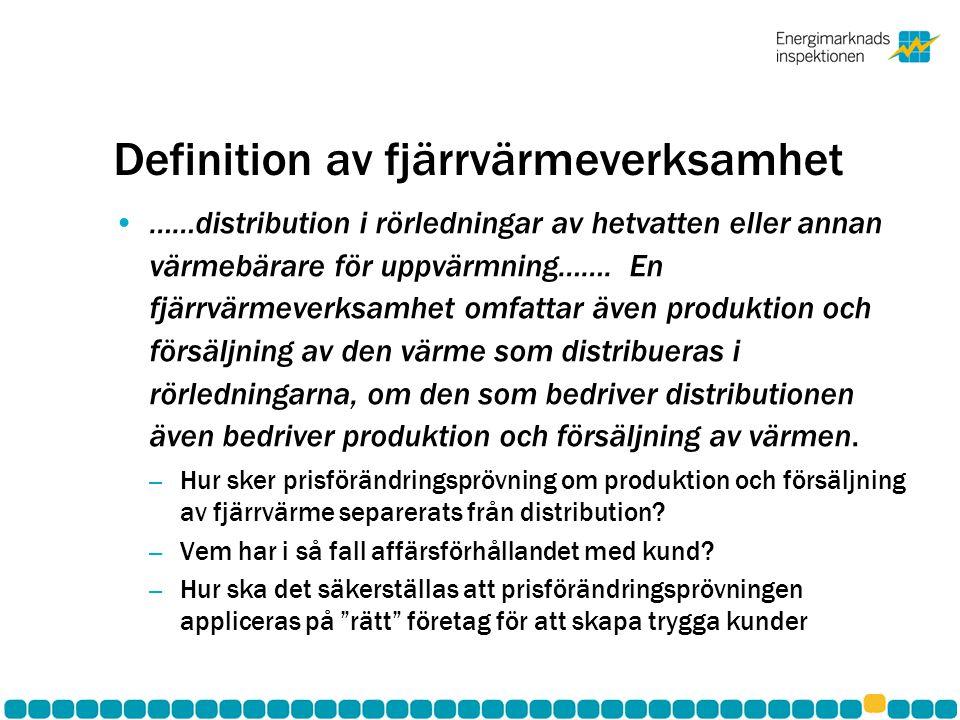 Ändring i fjärrvärmelagen av definition av fjärrvärmeverksamhet.