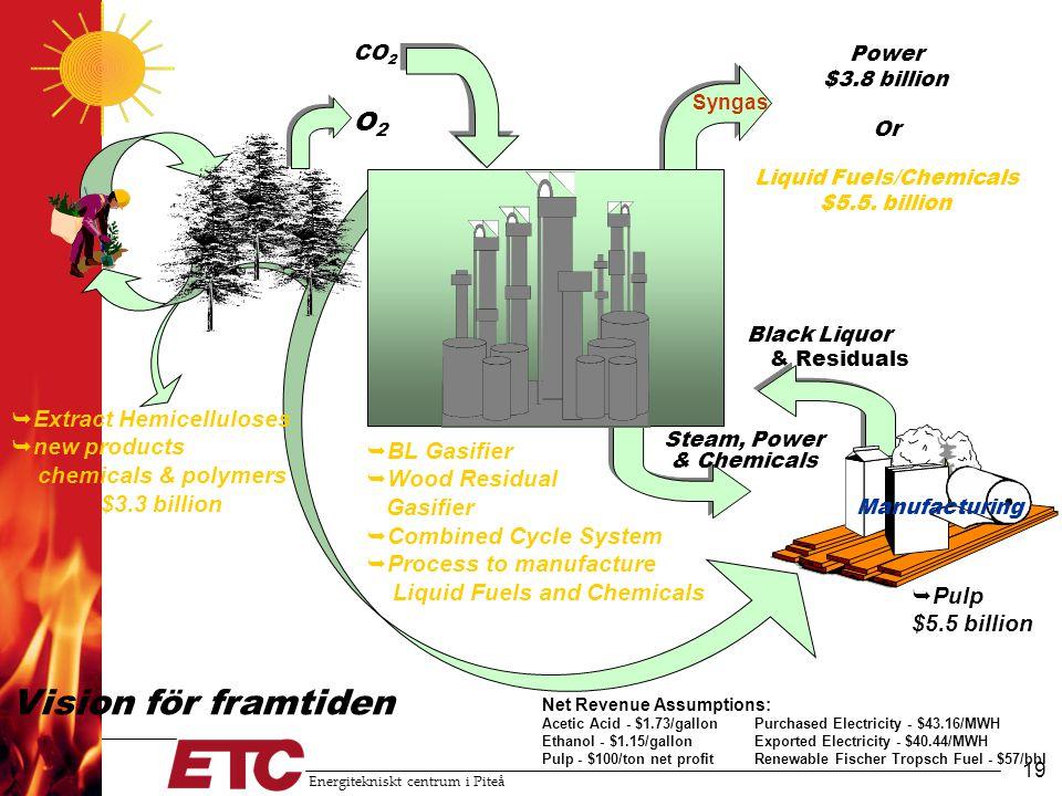 Energitekniskt centrum i Piteå 20 Från massabruk till bioraffinaderi •Utveckling av massabruken mot bioraffinaderi ger: –Ökade intäkter från nya produkter –Ökad konkurrenskraft mot formidabla konkurrenter (Sydamerika och Sydostasien) –Bränslen och kemikalier från en förnyelsebar källa –Minskat utlandsberoende