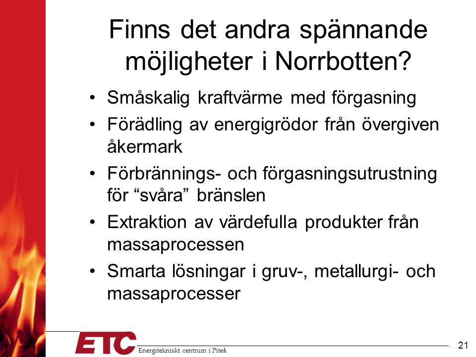 Energitekniskt centrum i Piteå 22 Energi och framtiden i Norrbotten •Viktigt med billig och miljövänlig energi (el, drivmedel, uppvärming) •Satsa på: utbildning, forskning, utvecklingsprojekt, pilotanläggningar, demoanläggningar •Nya bioraffinaderier medför: –Hållbara drivmedel produceras i länet –Nya affärsmöjligheter för länets företag –Markanvändningen kommer att förändras –Konkurrensfördel för Sverige och Norrbotten
