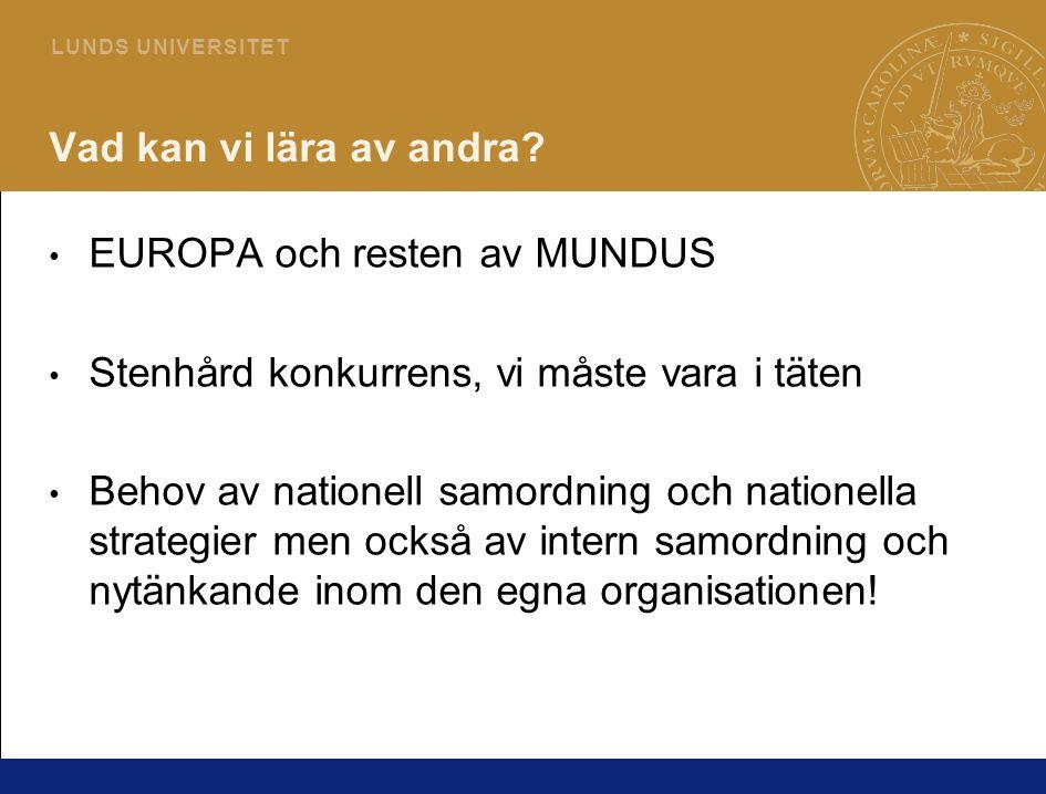 7 L U N D S U N I V E R S I T E T Projekt för stödfunktioner för JP - Kvalitetsfrämjande Strategiska planen - Internationalisering en av fyra strategier Lunds universitet skall profilera sig med utbildningar på avancerad nivå, särskilt mastersprogram med nationell och internationell rekrytering.