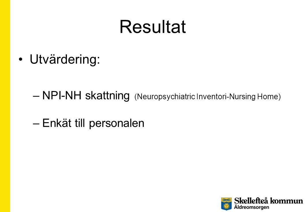 Resultat •Resultatet gäller 30 personer skattade enligt NPI-NH •Förekomst av BPSD symtom har minskat signifikant •Allvarlighetsgraden av kvarvarande symtym har minskat signifikant