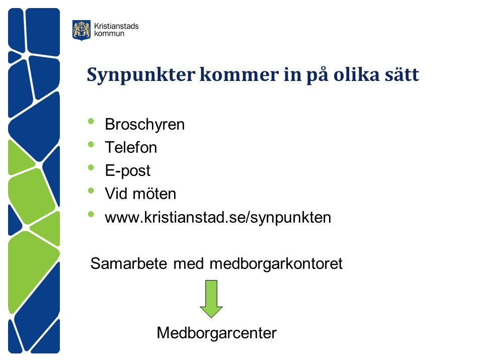 Synpunkter kommer in på olika sätt • Broschyren • Telefon • E-post • Vid möten • www.kristianstad.se/synpunkten Samarbete med medborgarkontoret Medborgarcenter