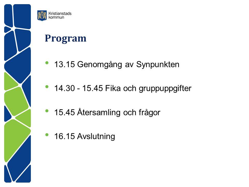 Program • 13.15 Genomgång av Synpunkten • 14.30 - 15.45 Fika och gruppuppgifter • 15.45 Återsamling och frågor • 16.15 Avslutning
