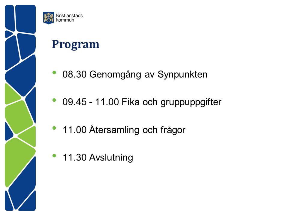 Program • 08.30 Genomgång av Synpunkten • 09.45 - 11.00 Fika och gruppuppgifter • 11.00 Återsamling och frågor • 11.30 Avslutning