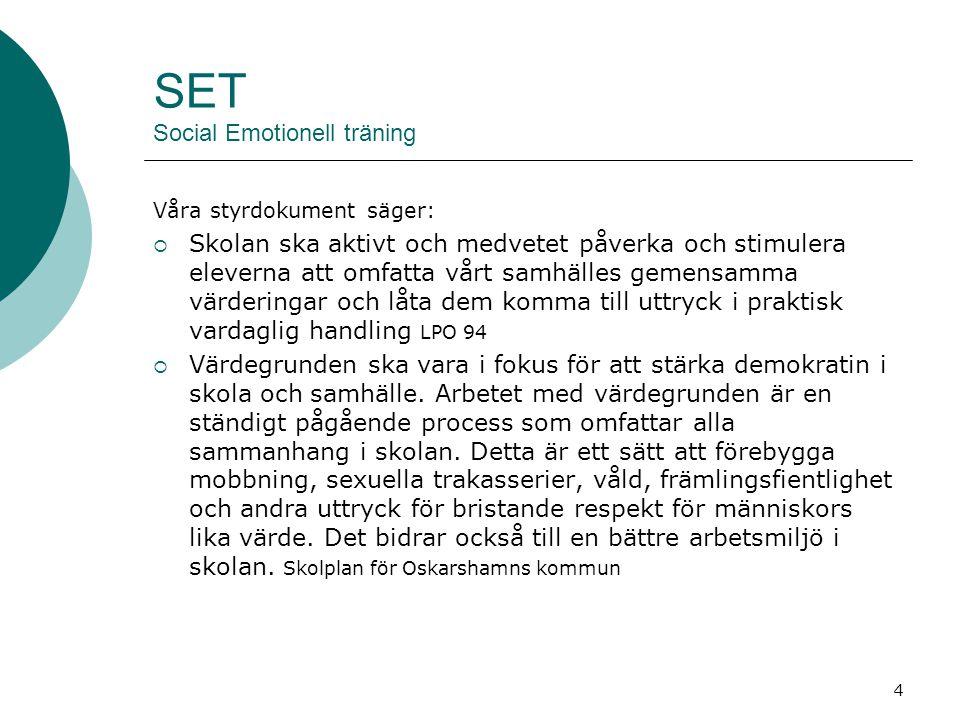 5 SET Social Emotionell Träning SET arbetet går bra att integrera i svenskundervisningen.