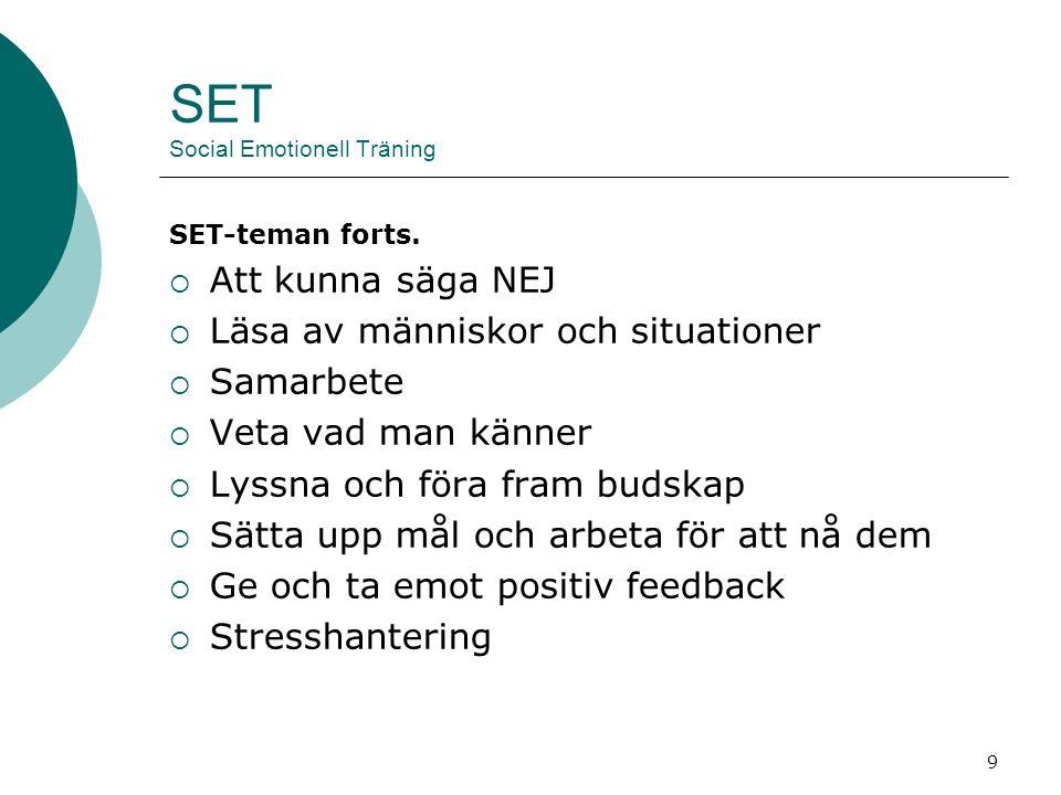 10 SET Social Emotionell Träning Varför SET.