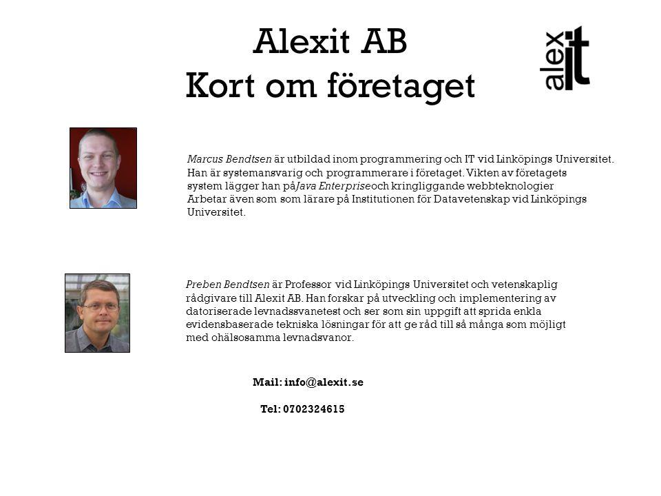 ALEXIT AB Våra lokaler: finns i Mjärdevi Center, Teknikringen 10, 7tr, Linköping Alexit AB är ett innovationsbolag som utgår från Linköpings Universitet och som har som mål att utveckla och sprida e-hälsa lösningar, baserat på forskningsresultat, till användare inom privat och offentlig verksamhet samt inom det egna hemmet.