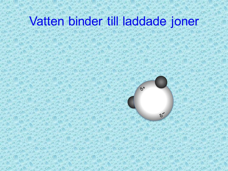 Vatten binder till laddade joner δ+ δ-δ-