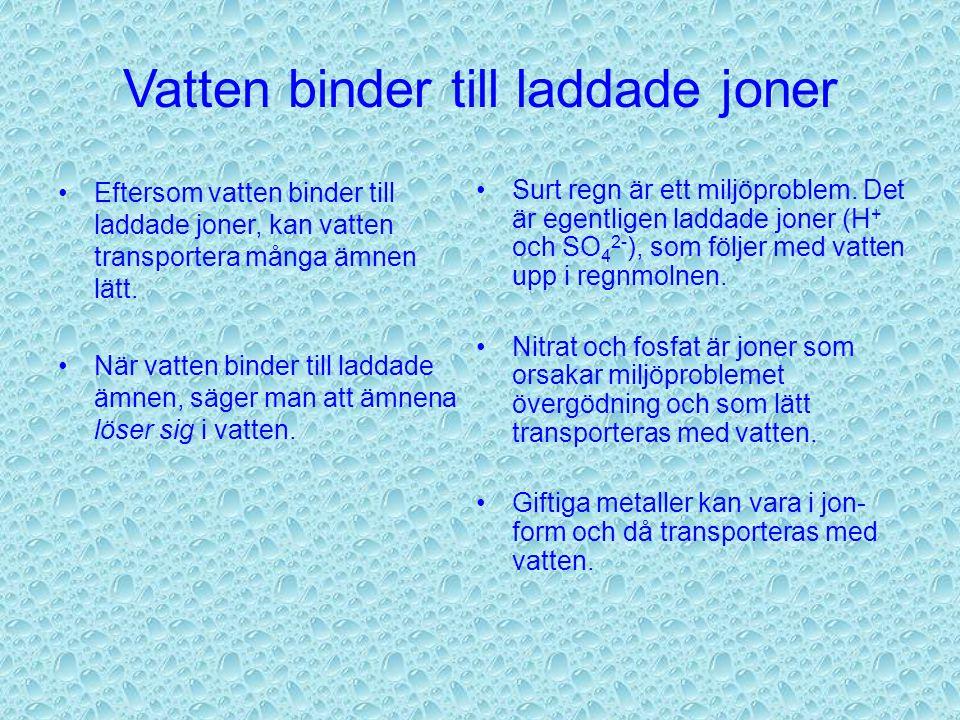 Vatten binder till laddade joner Eftersom vatten binder till laddade joner, kan vatten transportera många ämnen lätt.