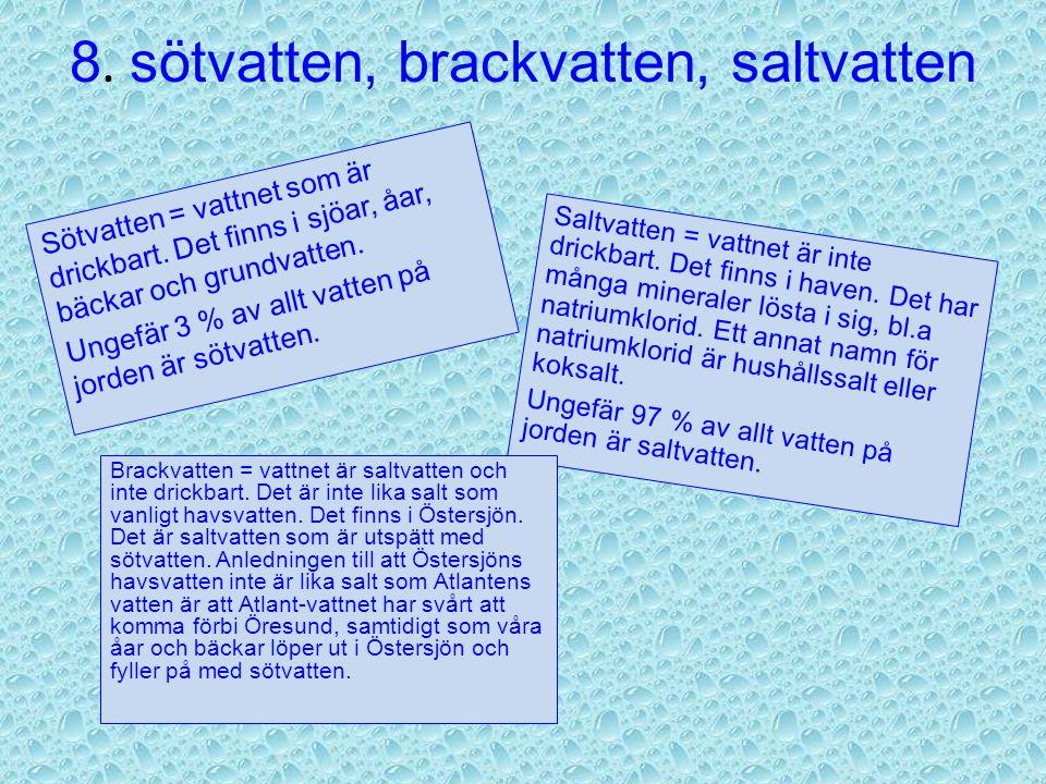 8.sötvatten, brackvatten, saltvatten Sötvatten = vattnet som är drickbart.