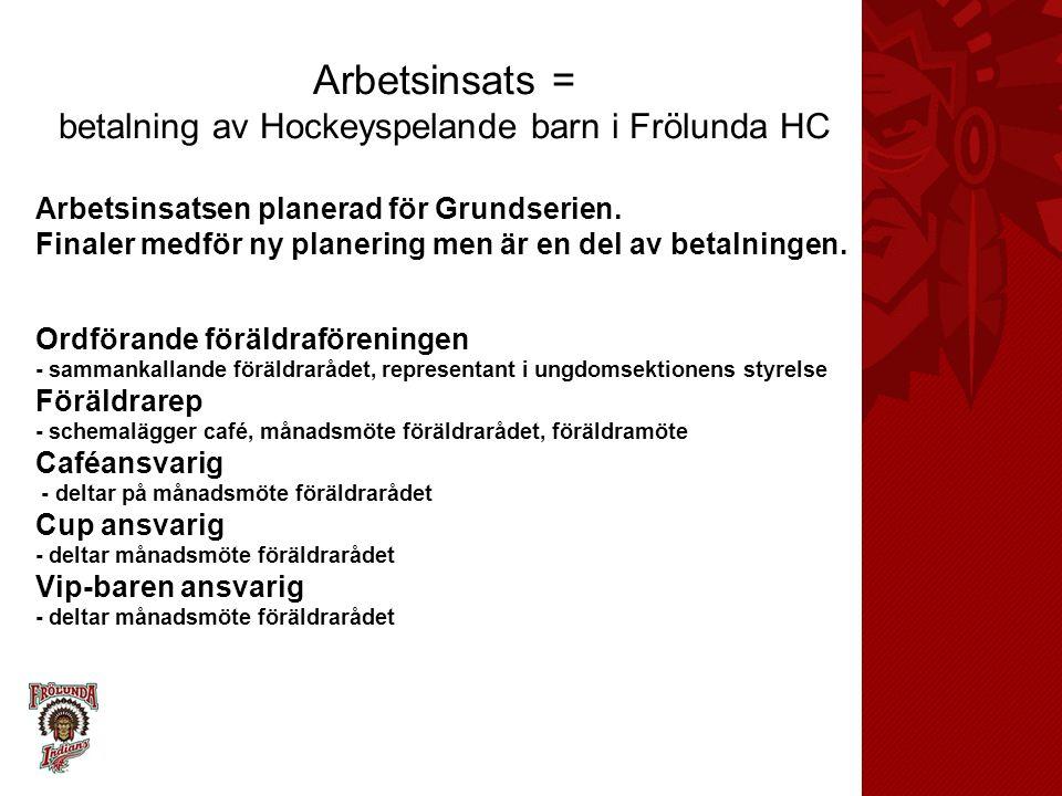 Arbetsinsats = betalning av Hockeyspelande barn i Frölunda HC Vip-baren9 ggr a-lagsmatch Souvenirer9 ggr a-lagets matcher M-rummet 9 ggr a-lagets matcher Café = cup Ett barn i föreningen = en insats, två barn = två insatser tre barn = tre in…samtal föräldrarådet