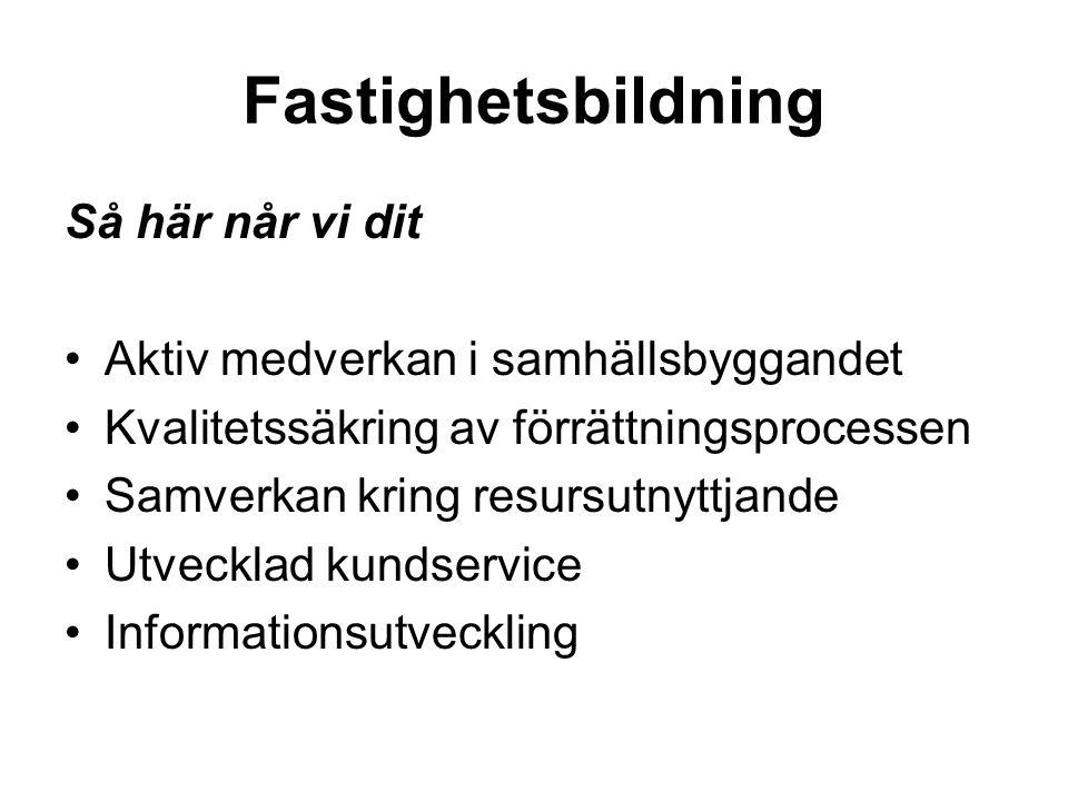 Hållbarhet i tillväxt och samhällsbyggande Svenskt Lantmäteri medverkar aktivt i samhällsbyggnadsprocessen som en respekterad aktör med fastighetsbildning för utveckling av en långsiktigt rationell fastighetsstruktur för samhällets, företagens och den enskildes behov.