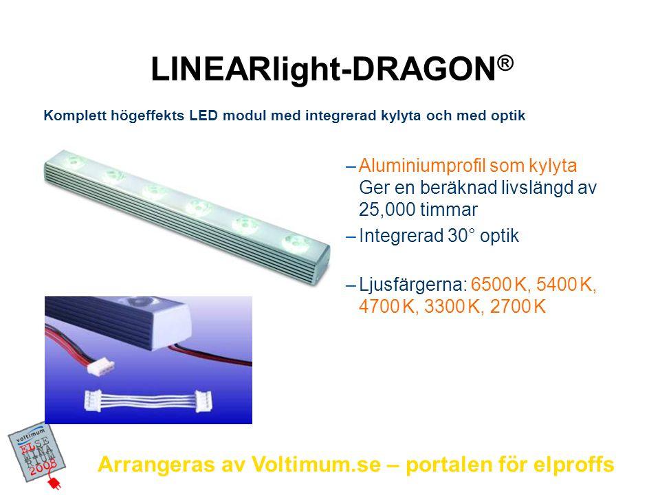 Arrangeras av Voltimum.se – portalen för elproffs Belysning Spot LED för accentbelys- ning – ø 31mm 3 x 3W LUXEON® K2 i varje del Varmvitt ljus Motsvarar 20W kalljus.