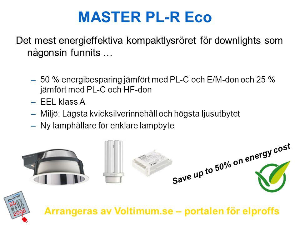 Arrangeras av Voltimum.se – portalen för elproffs Produktsortiment Lampor: MASTER PL-R Eco 14W/830 & 840 (lumen som PL-C 18W) MASTER PL-R Eco 17W/830 & 840 (lumen som PL-C 26W) Driftdon: Performer multi wattage: HF-P 1/2 13-17 PL-C/T/R EII 220-240V 50/60Hz Regulator multi wattage: HF-R TD 1/2 14-17 PL-R EII 220-240V Ra > 80 Livslängd (50%) 13000 tim EEL class: A