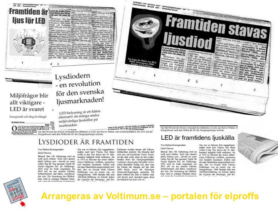 Arrangeras av Voltimum.se – portalen för elproffs LED idag