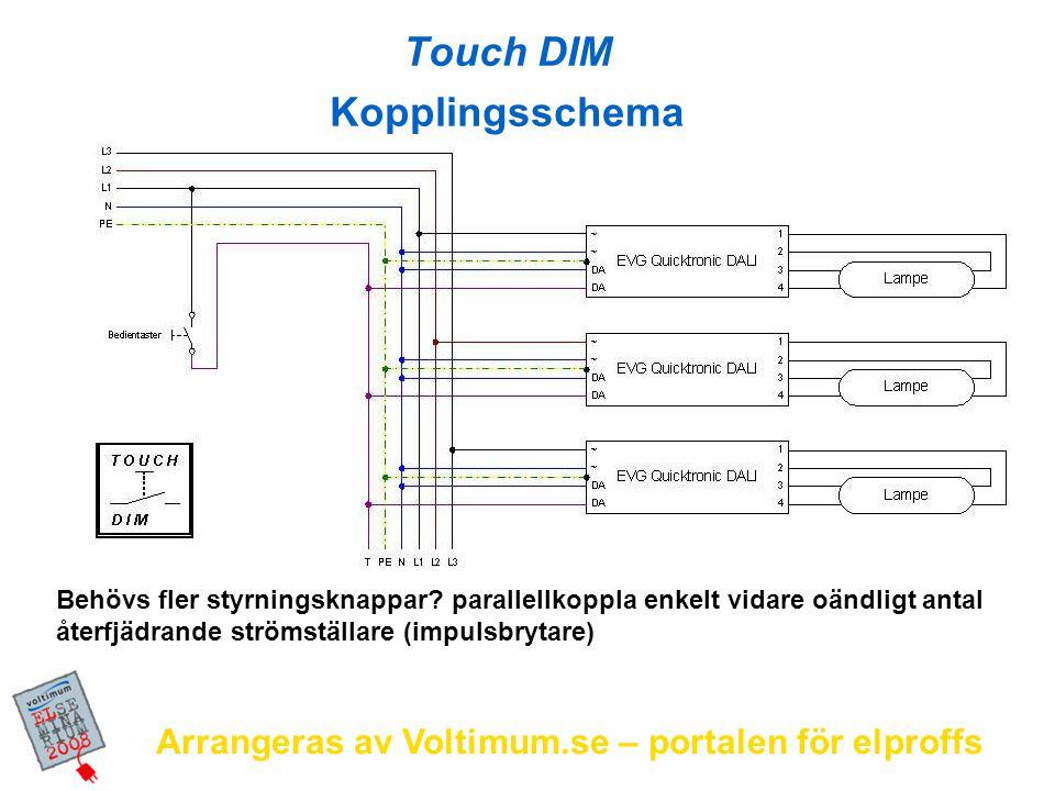 Arrangeras av Voltimum.se – portalen för elproffs L1 N PE Touch DIM sensor kopplingsschema max.10m signal kabel avstånd Max.