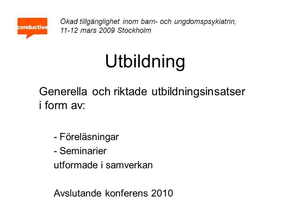 Utvärdering Görs av FOU enhet i samverkan med Växjö universitet Enkätundersökning med webbformulär, före- och eftermätning Fortlöpande dokumentation av konsultationer Ökad tillgänglighet inom barn- och ungdomspsykiatrin, 11-12 mars 2009 Stockholm