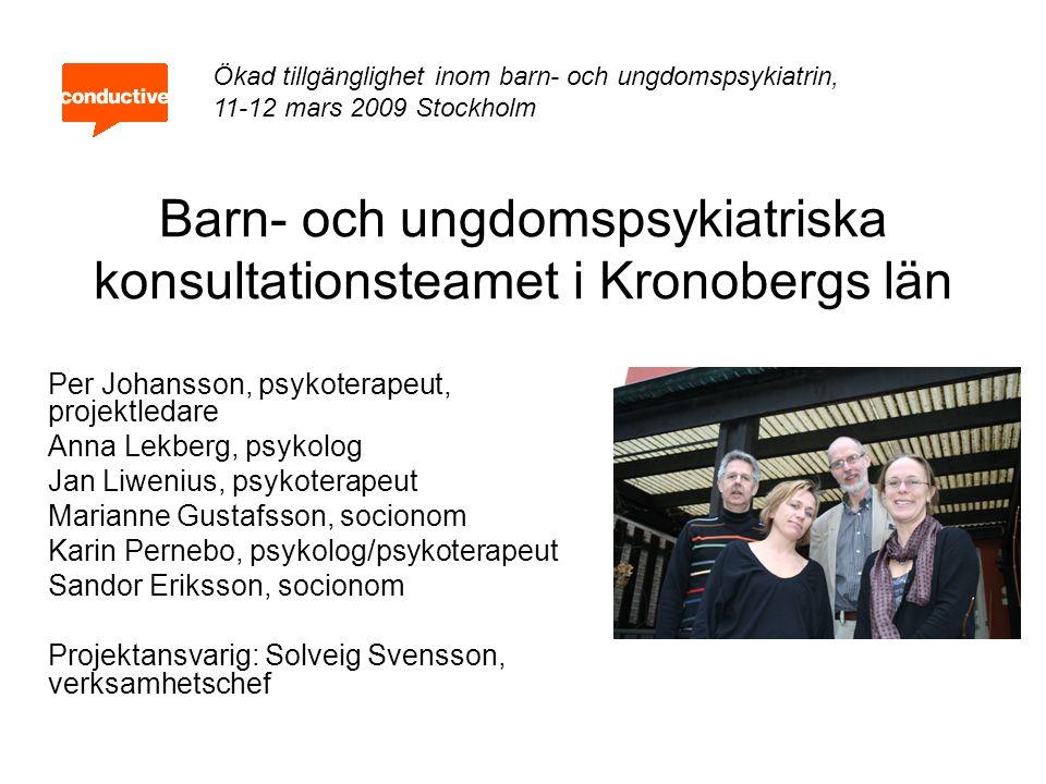 Nationella intentioner Tidiga insatser till barn och ungdomar som riskerar att utveckla psykisk ohälsa Förstärkt basverksamhet - skola, socialtjänst och primärvård Ökad kunskap om verksamma metoder Utökad samverkan mellan basverksamheter och BUP via konsultation, stöd och vägledning Första linjens barn – och ungdomspsykiatri Ökad tillgänglighet inom barn- och ungdomspsykiatrin, 11-12 mars 2009 Stockholm