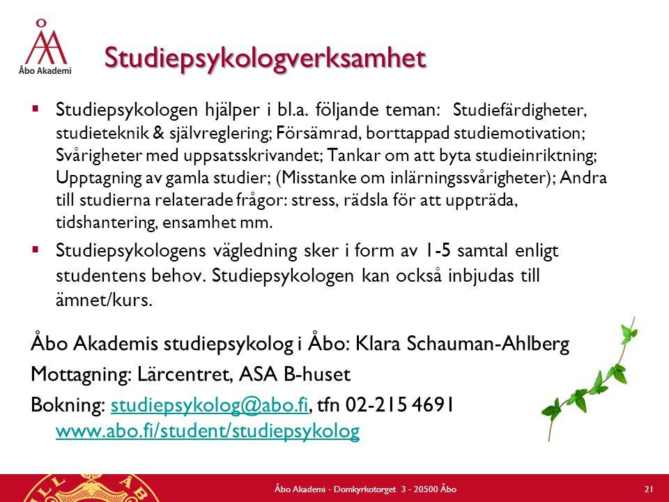 Egenlärarens och tutorns roll och uppgifter 27.8.2012Åbo Akademi - Domkyrkotorget 3 - 20500 Åbo 22