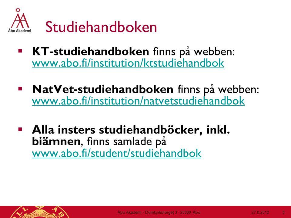 Undervisningsprogram  finns på webben: www.abo.fi/student/undervisningsprogram www.abo.fi/student/undervisningsprogram – ändringar görs inför varje period, 2 veckor före periodstart 27.8.2012Åbo Akademi - Domkyrkotorget 3 - 20500 Åbo 6