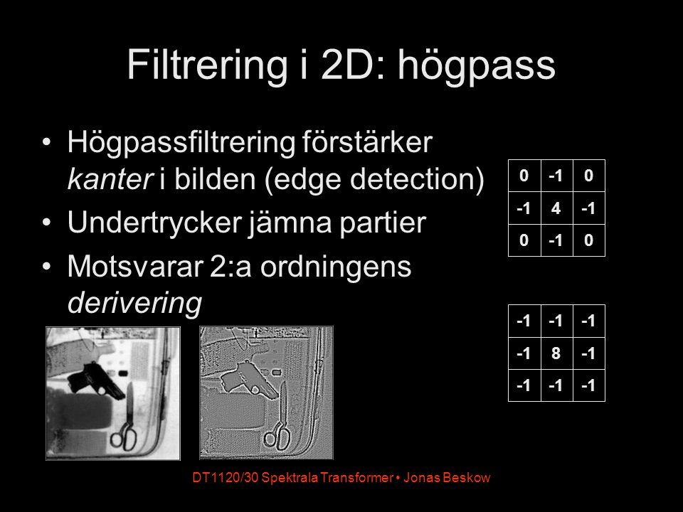 DT1120/30 Spektrala Transformer Jonas Beskow Exempel: sharpening (sharpening, edge enhancement) Kombination av originalbild och högpass förstärker bildens kanter 8 0 0 0 0 1 0 0 0 0 -k 1+8k -k