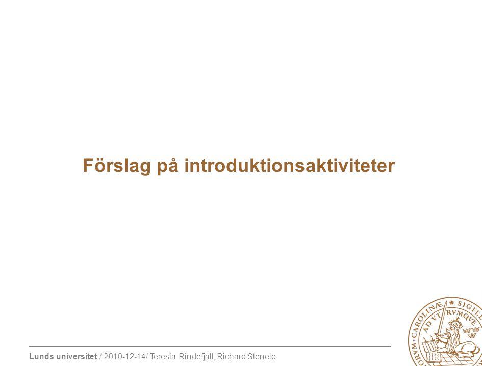 Lunds universitet / 2010-12-14/ Teresia Rindefjäll, Richard Stenelo kursintroduktion bibliotek besök på institutionen och träffa personalen introduktion till PBL Finding your way - this is your campus!