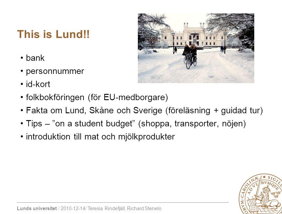 Lunds universitet / 2010-12-14/ Teresia Rindefjäll, Richard Stenelo hjälp med att starta den första integrationen internationella middagar gemensam lunch för feed-back och utvärdering Sociala aktiviteter