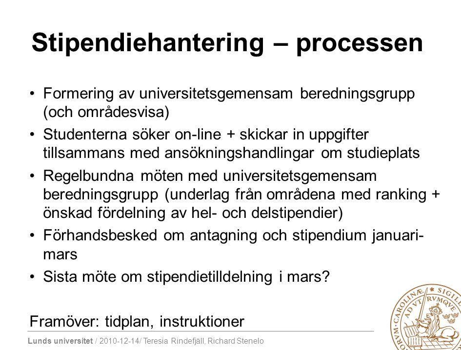 Lunds universitet / 2010-12-14/ Teresia Rindefjäll, Richard Stenelo Stipendier – återstående frågor Riktade stipendier – geografiska prioriteringar.