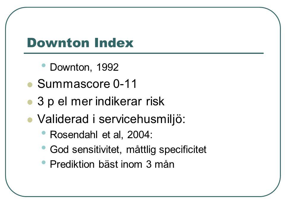 Downton Index, riskindikatorer: Tidigare kända fall Sedativa lkm Diuretika, Andra antiyperten- siva lkm Antiparkinsonmed Antidepressiva Synnedsättning Hörselnedsättning Nedsatt sensomo- torisk extremitets- funktion Kognitiv funktions- nedsättning Osäker gång