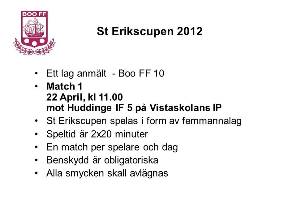 St Erikscupen 2012 Support kring St Erikscupen Tränare Målsättning att ha en tränare på plats vid varje match.