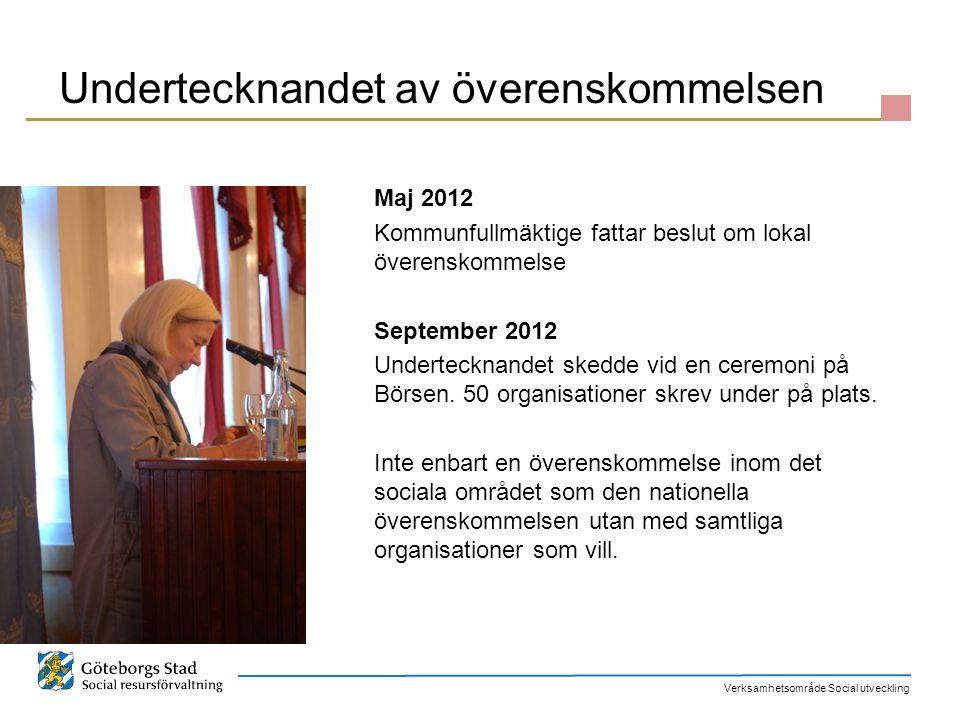 Verksamhetsområde Social utveckling Överenskommelsens vision Göteborg är en stad där medborgarna engagerar sig och där engagemanget tas tillvara.