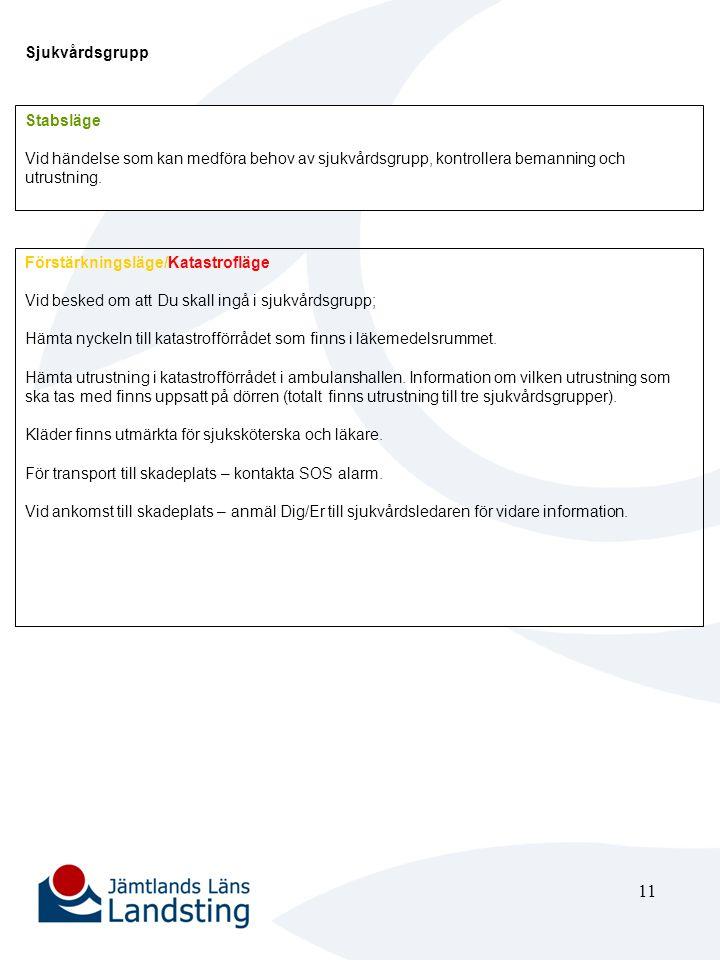 12 Enhetschef Akutmottagningen Stabsläge Ansvara för att övrig tjänstgörande personal vid akutmottagningen informeras om att stabsläge gäller.