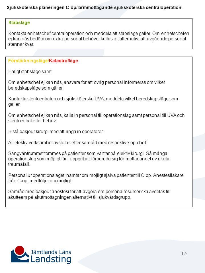16 Arbetsledande sjuksköterska sterilcentralen Förstärkningsläge/Katastrofläge Informera övrig tjänstgörande personal om vilket beredskapsläge som gäller.
