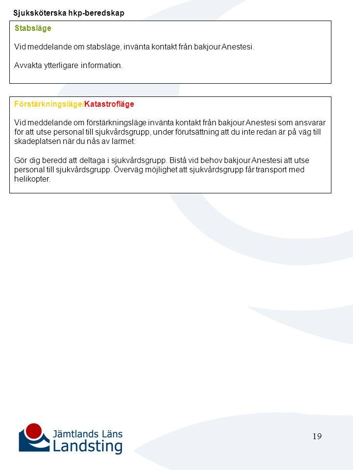 20 Primärjour Anestesi (personsökare 111/6101) Stabsläge Håll kontakt med bakjour Anestesi.
