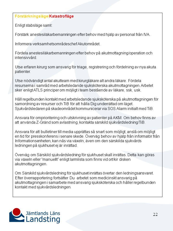 23 Verksamhetområdeschef Akutområdet eller dennes ställföreträdare Stabsläge Vid behov inrättas Särskild sjukvårdsledning för sjukhuset i Akutområdets konferensrum och den övertar ledningen för katastrofarbetet vid sjukhuset.