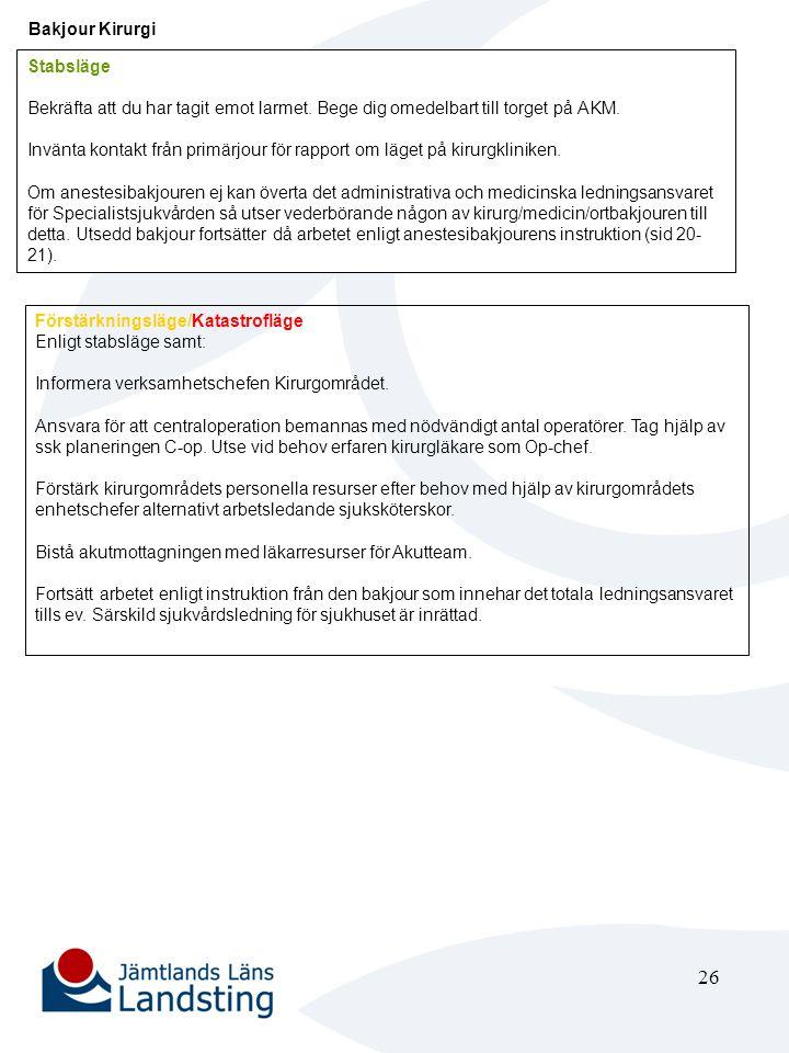 27 Verksamhetsområdeschef Kirurgi eller dennes ställföreträdare Stabsläge Vid behov inrättas Särskild sjukvårdsledning för sjukhuset i Akutområdets konferensrum och den övertar ledningen för katastrofarbetet vid sjukhuset.