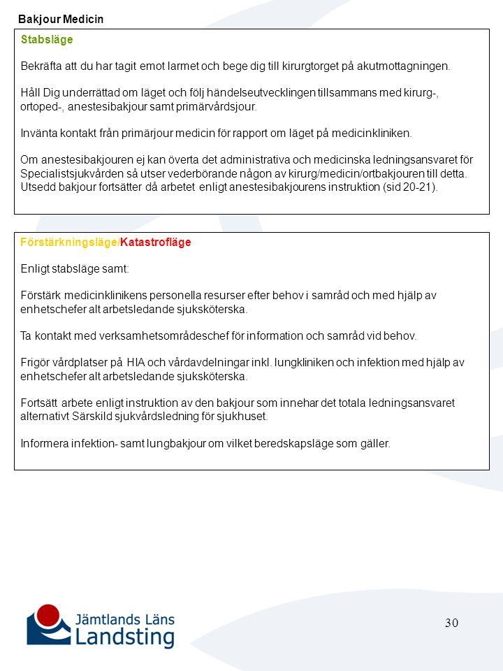 31 Verksamhetsområdeschef Medicin eller dennes ställföreträdare Stabsläge Ingen åtgärd Förstärkningsläge/Katastrofläge Vid meddelande om förstärknings eller katastrofläge, samråd och bistå vid behov bakjour medicin.