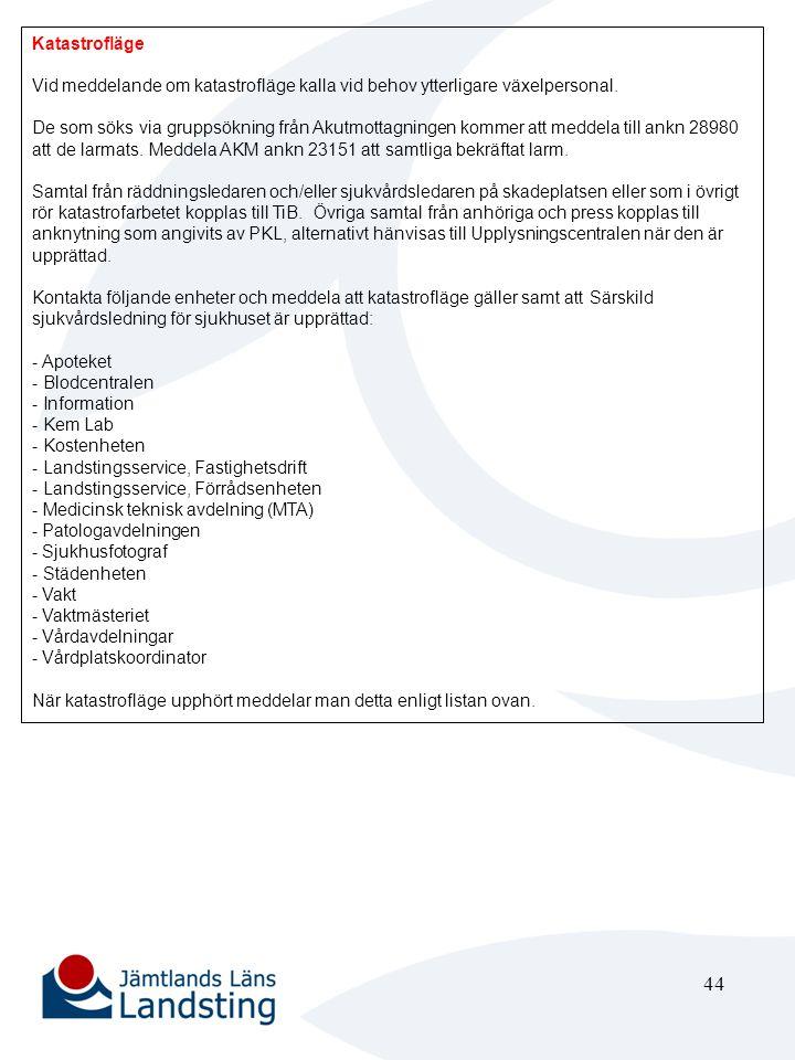 45 Vakt Stabsläge Ingen åtgärd Förstärkningsläge/Katastrofläge Vid meddelande om förstärkningsläge bege Dig till akutmottagningen och kontrollera med arbetsledande sjuksköterska alternativt enhetschef om behov av vakt.