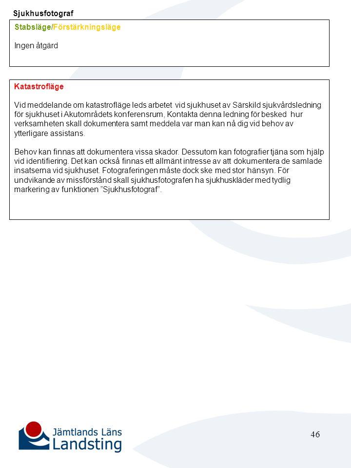 47 Medicin teknisk chef (MTA) Stabsläge/Förstärkningsläge Ingen åtgärd Katastrofläge Informera personalen om vilket beredskapsläge som gäller.