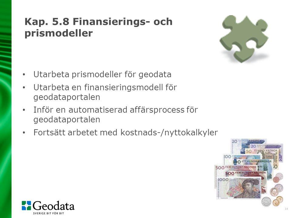 15 Kapitel 6 och 7 En stegvis utveckling Konsekvenser - kostnader och nyttor av en nationell infrastruktur för geodata - konsekvenser av genomförandet av geodatastrategin - konsekvenser av genomförandet av Inspire Uppföljning Begreppsförklaringar