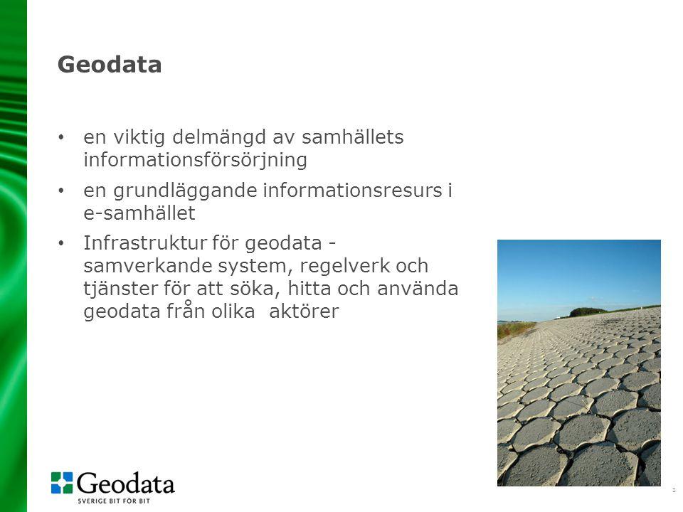 3 Utgångspunkter Stödja utvecklingen av svenskt näringsliv Bidra till utvecklingen av e-förvaltningen Medge anpassning till nya förutsättningar Användarperspektiv Bygga på samverkan mellan olika aktörer Genomförandet av EG-direktivet Inspire