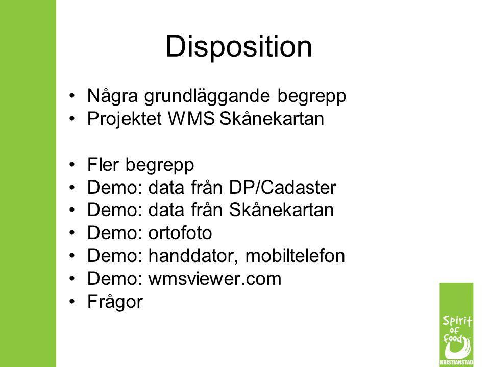 WMS Web Map Service Standardiserat sätt att tillhandahålla geografiska data Kombinera geografiska data från olika leverantörer Kan ersätta/minska behovet av importrutiner