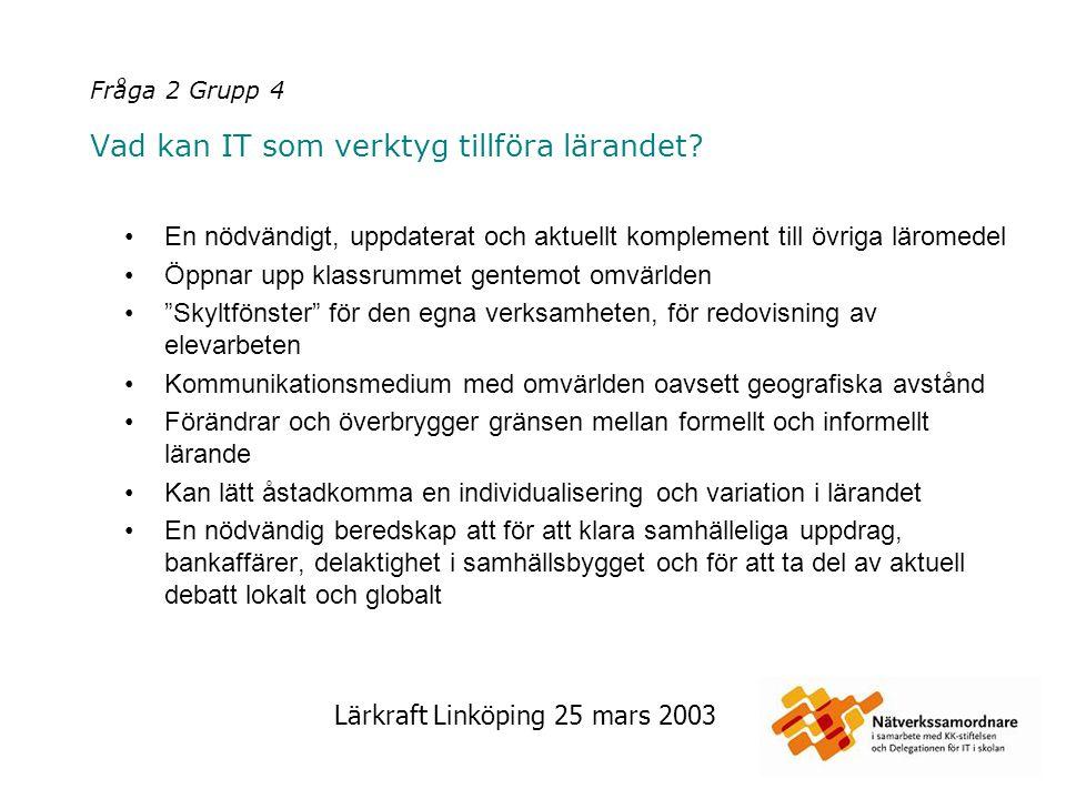 Lärkraft Linköping 25 mars 2003 Fråga 2 Grupp 5 Vad kan IT som verktyg tillföra lärandet.