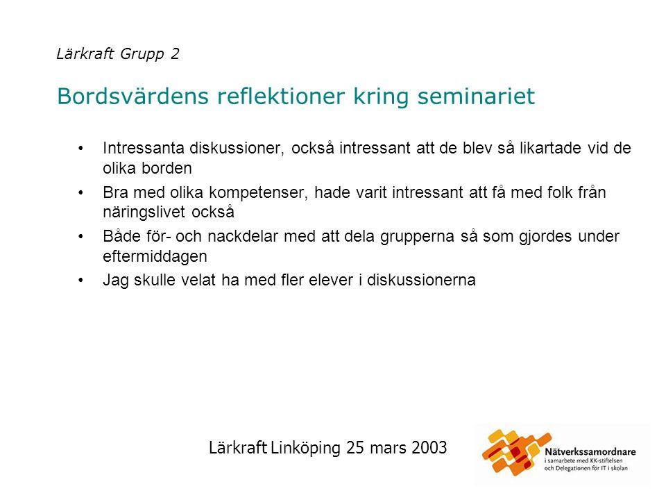 Lärkraft Linköping 25 mars 2003 Lärkraft Grupp 4 Bordsvärdens reflektioner kring seminariet De tre diskussionsomgångarna var ganska korta.