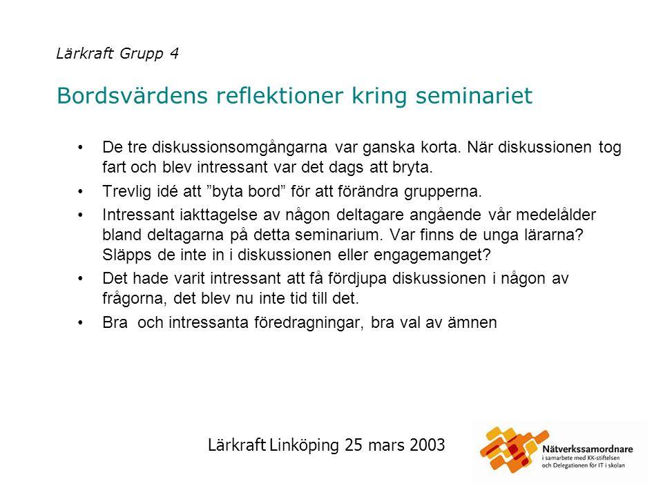Lärkraft Linköping 25 mars 2003 Lärkraft Grupp 5 Bordsvärdens reflektioner kring seminariet Intressanta ämnen Bra upplägg men ett ämne för mycket, vilket medförde Kort samtalstid, vilket i sin tur ledde till Problem med att fullfölja resonemang